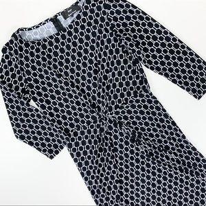 Dennis Basso Midi Dress Black White Pattern Sz S